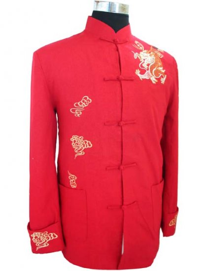 Red Noble Chinese Traditional Shirt [CMS-06RD]