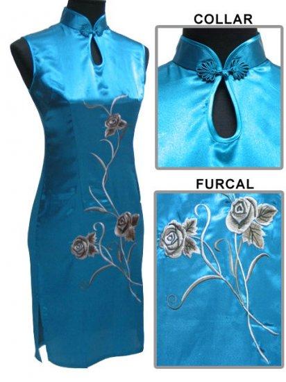 Lake Blue Chinese Embroider Silk Dress[CMD-05LB]