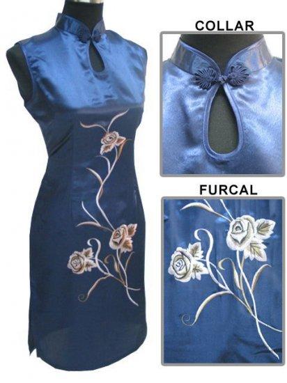 Sapphire Blue Chinese Embroider Silk Dress[CMD-05SB]
