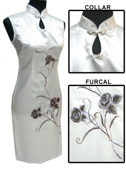 White Chinese Embroider Silk Dress[CMD-05WT]