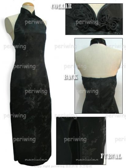 Black Vogue Chinese Dress Backless Gown[CDL-05BK]