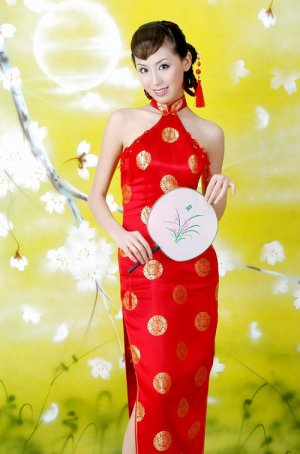 Chinese Red Luck Circinal Pattern Dress Evening/Wedding [CDC-13]
