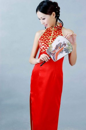 Chinese Golden Red Dress Evening/Wedding Gown [CDC-14]