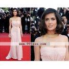 Salma Hayek Sheath/Brush Train Sleeveless Chiffon/Cannes Film Festival/Evening Dress