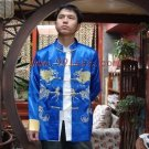 Men's Dragon Embroidered Chinese Shirt Royal Blue