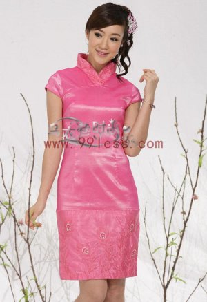 Embroidery Wedding Bridesmaid's Chinese Clothing-Pink Rose