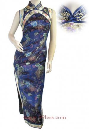 Classic Chinese Dress Evening Gown Navy Blue 9QIP-0136