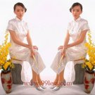 Chinese Satin White Chinese Long Dress/Chinese Gown/Oriental Style Dress 9QIP-0003