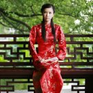 Chinese Satin Long Sleeve Red/Wedding Chinese Long Dress/Chinese Gown/Oriental Style Dress 9QIP-0052
