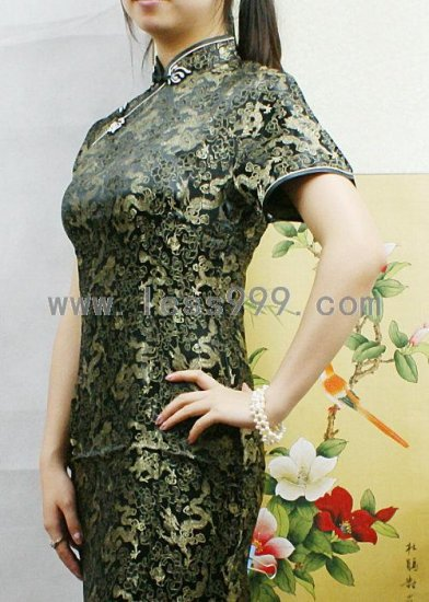 Black Ceremonial Chinese Long Dress/Chinese Gown