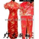 Red Plum Oblique Lapel Short-sleeved Chinese Long Dress/Chinese Gown/Oriental Style Dress