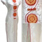Chinese Satin White Chinese Long Dress/Chinese Gown/Oriental Style Dress 9QIP-0356