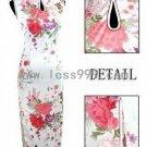 White Silk Imitation Sleeveless Printing Drip Collar Chinese Long Dress