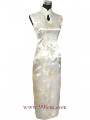 Chinese Satin Silver Chinese Long Dress/Chinese Gown/Oriental Style Dress 9QIP-0058