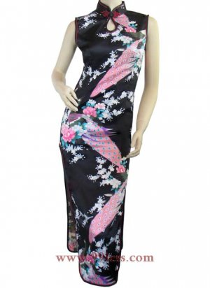 Chinese Silk Black Chinese Long Dress/Chinese Gown/Oriental Style Dress 9QIP-0148