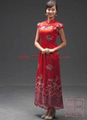 Lace Red/Wedding Embroidery Sequin Cap Sleeve Chinese Long Dress/Chinese Gown/Oriental Style Dress