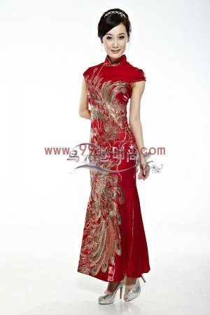 Mercerized cotton Red/Wedding Chinese Long Dress/Chinese Gown/Oriental Style Dress