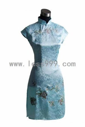 Blue High-grade Ice Silk Embroidered Chinese Mini Dress