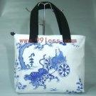 Hand Printed Chinese Bag/Satchel -White