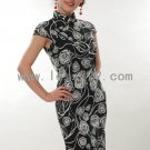 White Cotton Batik Rose Chinese Mini Dress/Chinese Gown/Oriental Style Dress