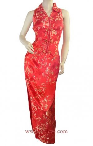 Chinese Satin Red/Wedding Chinese Long Dress/Chinese Gown/Oriental Style Dress 9QIP-0142