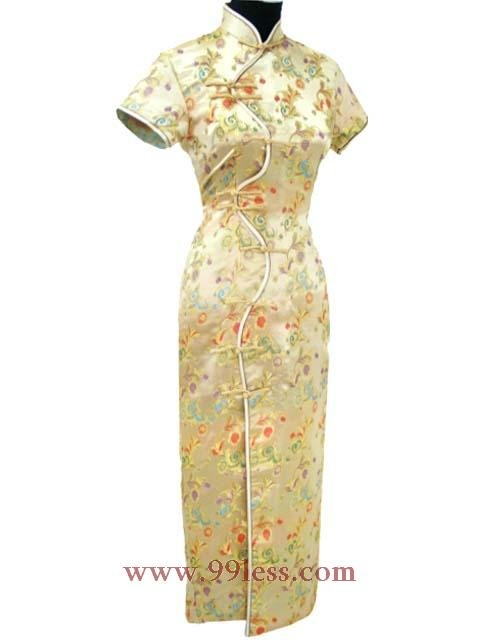 Chinese Satin Golden Chinese Long Dress/Chinese Gown/Oriental Style Dress 9QIP-0095