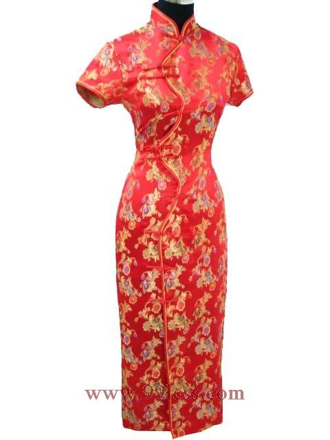 Chinese Satin Red/Wedding Chinese Long Dress/Chinese Gown/Oriental Style Dress 9QIP-0094