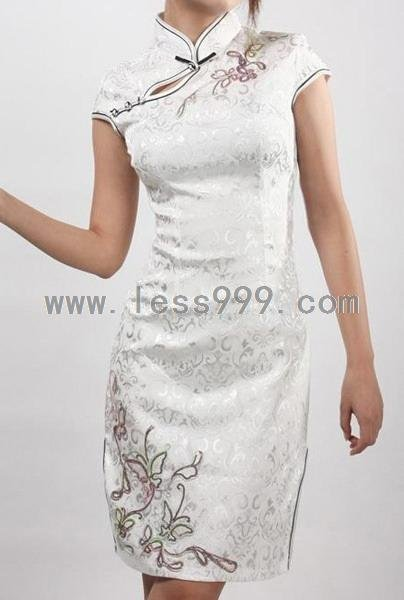 White Cotton Jacquard Top to Bottom Embroidered Chinese Mini Dress/Chinese Gown/Oriental Style Dress