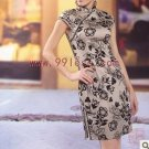 Cotton Flora Print Chinese  Mini Dress/Chinese Gown/Oriental Style Dresses