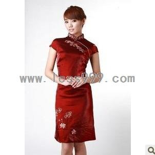 Maroon New Brocade Satin Cotton Embroidery with Liner Chinese Mini Dress/Oriental Style Dress