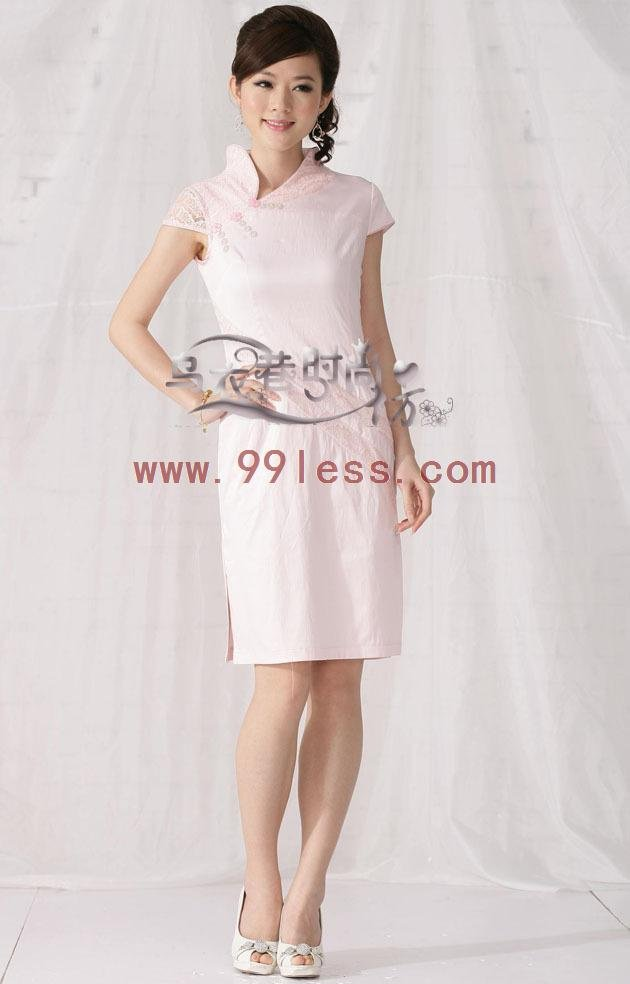 Chinese Wrap Dress-Pink /Chinese Gown/Oriental Style Dresses