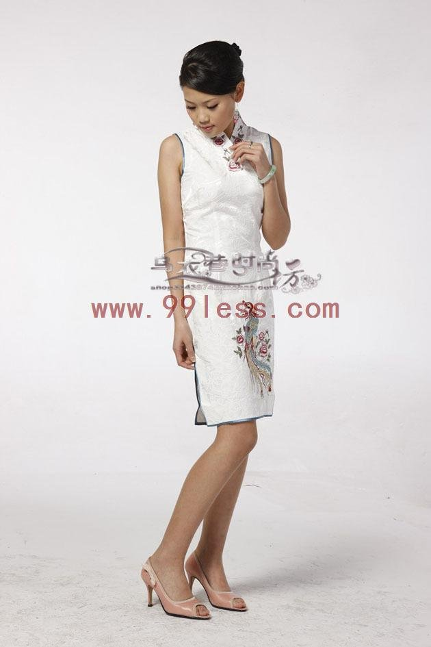Spandex Chinese Mini Dress /Chinese Gown/Oriental Style Dresses