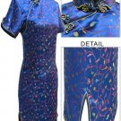Satin Floral Print Chinese Mini Dress/Chinese Gown/Oriental Style Dress/Cheongsam-Navy Blue