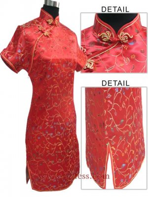 Satin Floral Print Chinese Mini Wedding Dress/Chinese Gown/Oriental Style Dress/Cheongsam-Red