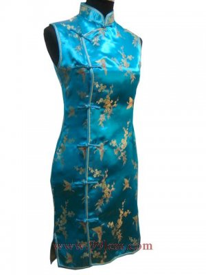 Satin Gold Butterfly Pattern Chinese Mini Dress/Chinese Gown/Oriental Style Dress/Cheongsam-Blue
