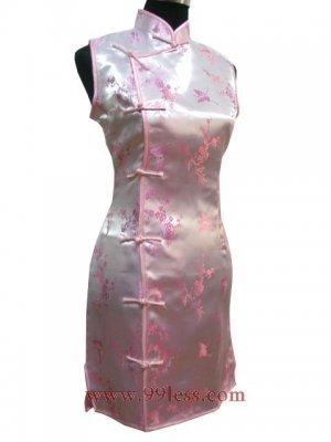 Satin Butterfly Pattern Chinese Mini Dress/Chinese Gown/Oriental Style Dress/Cheongsam-Golden