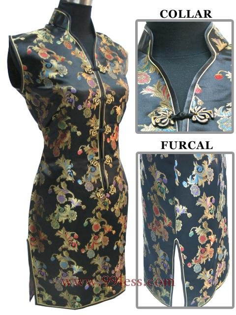 Chinese Mini Dress Black 9QIP-0160/Chinese Gown/Oriental Style Dresses
