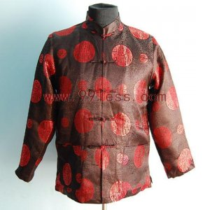 Men's Traditional Chinese Shirt with Embroidery Coffee
