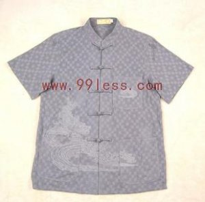 Men's Shadow Plaid Chinese Shirt Embroidered with Dragon