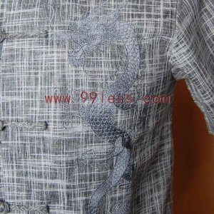 Men's Shadow Plaid Chinese Shirt Patterned with Dragon