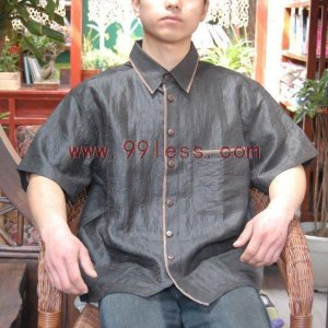Men's Chinese Silk Shirt Gray