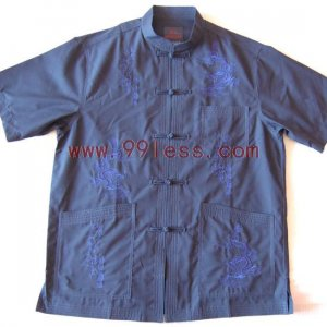 Men's Chinese Traditional Shirt Patterned with Dragon