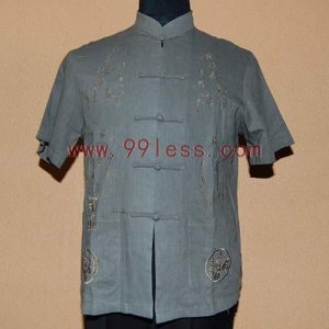 Men's Chinese Shirt with Chinese Character Emboidery Gray