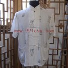 Chinese Character Trim Shirt for Men White