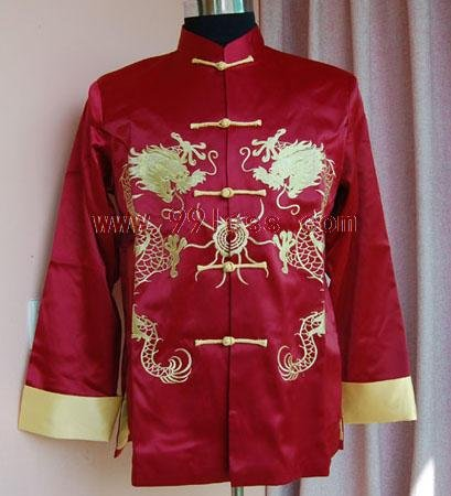 Men's Dragon Embroidered Chinese Brocade Shirt Red