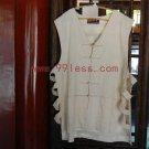 Men's Sleeveless Beige Chinese Shirt