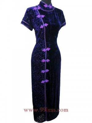 Chinese Velour Purple Chinese Long Dress/Chinese Gown/Oriental Style Dress 9QIP-0099