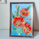 Red Flowers Poppies on Blue Decorative floral oil painting small wall decor handmade