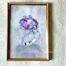 Pink Diamond Ring Watercolor and Gouache original painting wall decor A4 paper