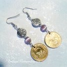 1992 Russia Coin Earrings Lilac Cat's Eye Beads Handmade Jewelry
